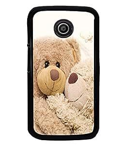 printtech Love Teddy Couple Back Case Cover for Motorola Moto E2::Motorola Moto E (2nd Gen)