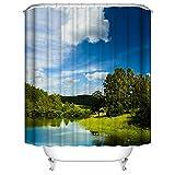 See-Baum-weiße Wolken-3D Duschvorhang-Zwischenlage Mehltau-beständiges wasserdichtes Badezimmer-Vorhang-Polyester-Landschafts-Thema-Duschvorhänge oder Zwischenlage, 66 x72 Zoll, blaues Grün
