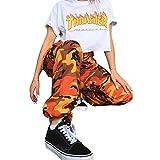 ORANDESIGNE Damen Camouflage Hose Mädchen Hip Hop Jogger Trainingshose Casual Sport Camo Cargo Hosen Orange EU X-Small