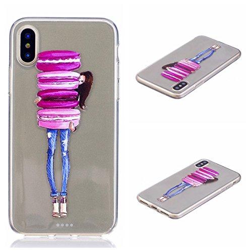 iPhone X Hülle, Voguecase Silikon Schutzhülle / Case / Cover / Hülle / TPU Gel Skin für Apple iPhone X(Campanula Blumen) + Gratis Universal Eingabestift macaron Mädchen