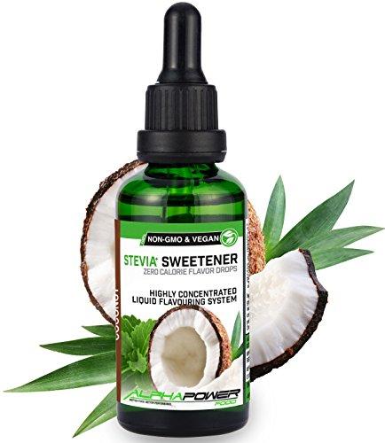 ALPHA POWER FOOD: Stevia líquida natural - Stevia Gotas de leche de coco, Edulcorante natural, sustituto del azúcar con sabor - sin azúcar & calorías