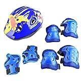 LVPY Set di casco protezione bambini,7 in 1comprende casco, gomitiere, ginocchiere, ideali per bambini per pattini a rotella,BMX, skateboard, bicicletta, hoverboard e altri sport estremi