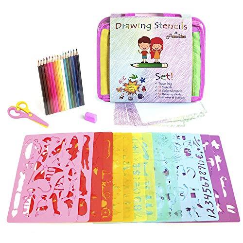 UYTGYUHIOJ Stencil Set   Stencil Kit for Kids   Fabric Travel Bag with Sketch Pad   300+ Shapes   15 Stencils   15 Colored Pencils   Sharpener & Scissors