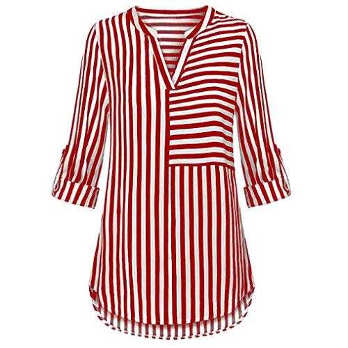Meibax camicetta di chiffon/maglietta donna elegante v collo/bluse e camicie manica con risvolto a righe/camicia top t-shirt donna cotone