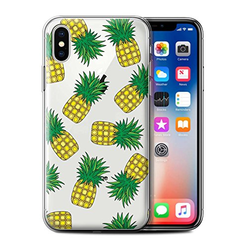 Stuff4 Gel TPU Hülle / Case für Apple iPhone X/10 / Kaffee/Krapfen Muster / Stück Lebensmittel Kollektion Ananas