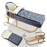 BambiniWelt24 BAMBINIWELT Kombi-Angebot Holz-Schlitten mit Rückenlehne & Zugseil + universaler Winterfußsack (108cm), auch geeignet für Babyschale, Kinderwagen, Buggy, aus Wolle (Flowers grau)
