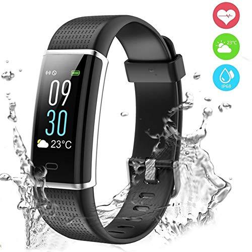 Fitness Armband,Fitness Tracker mit Pulsmesser 0,96 Zoll Farbdisplay Fitness Uhr Armband Uhr Schlafmonitor Aktivitätstracker mit 14 Trainingsmodi Vibrationsalarm mit GPS für Damen Herren