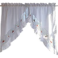 Süße Blume gestickte Vorhang Küche Vorhang Kaffee Screen-Ein Paar