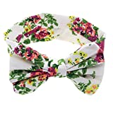 Imported Baby Kids Girls Floral Bowknot Hair Band Turban Knot Headband White