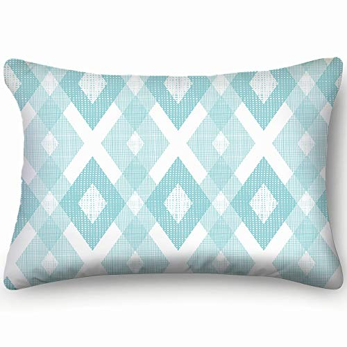 dfgi Pastel Blue Fabric Ikat Diamond Abstract Abstract Pillowcases Decorative Pillow Covers Soft and Cozy, Standard Size 20