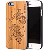 iPhone 6 / 6S Case Wood | Real Natural Bamboo Wooden Backplate With Unique World Map Design and Shock Absorbing Polycarbonate Protective Bumper GOWOOD
