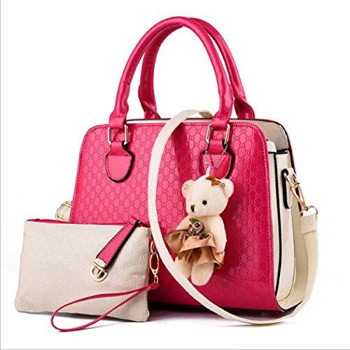 Für Frauen und Mädchen tägliche Handtasche Kunstleder Schulter Kurier Tasche mit Trageriemen Rot