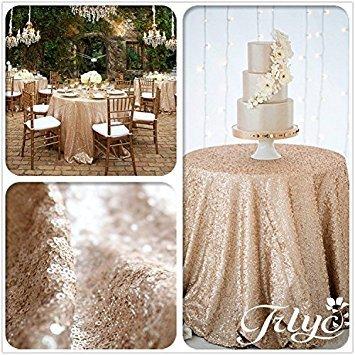 er Rund glitzernden Pailletten Tischdecke 182,9cm-497,8cm rund für Hochzeit/Dessert Tisch, Leinen, champagnerfarben, 156