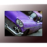 Deine bilder24. de–Mural XXL American car in the streets of Old Havana sobre lienzo y bastidor. La mejor calidad, hecho a mano en Alemania., blau gelb weiß grün rot orange braun schwarz rosa, 70 x 110