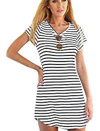 JOTHIN Damen V-ausschnitt Kurz Ärmel Striped Kleider Sommerkleid  Strandkleider-Form Shirt S M L XL 2f64cd1277