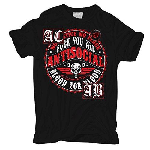 Männer und Herren T-Shirt Antisocial - Scheiss Verein (mit Rückendruck) Körperbetont schwarz