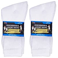12 Pairs Boys Cotton Rich Sport Socks School Socks Shoe Sizes 9-12, 12-3, 4-6