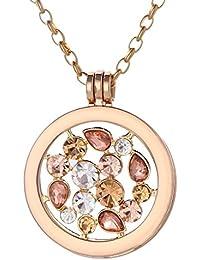 Morella Damen Halskette gold 70 cm Edelstahl und Anhänger mit Coin 33 mm im Schmuckbeutel