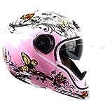 Casco Stealth HD190 Transformer para moto, de color rosa y con diseño de mariposas