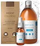 Institut Katharos - Argent Colloïdal 100% Naturel 40 PPM 1000mL + Spray 30mL Indispensable à remplir Offert, Livré avec Bouchon Doseur Très Pratique,Concentration Supérieure
