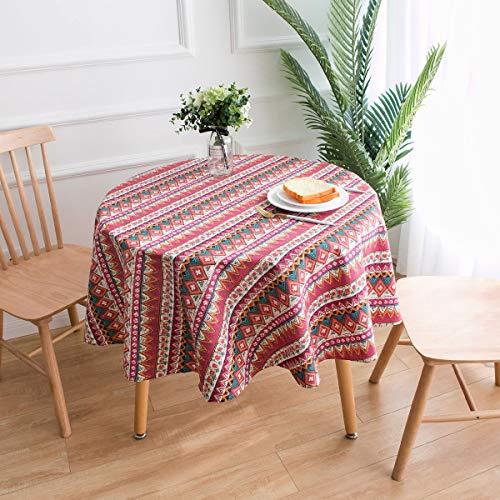 GUOAI Runde Tischdecke Aus Baumwolle Und Leinen Kleine Runde Tischdecke Mit Runder Bedruckung,geometricred