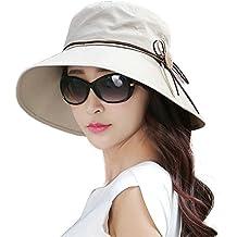 Butterme Mujer Verano Playa Plegable Amplio grande borde sol sombrero Anti UV Sun Cap UPF50+ Cubo Sombreros de cable beige