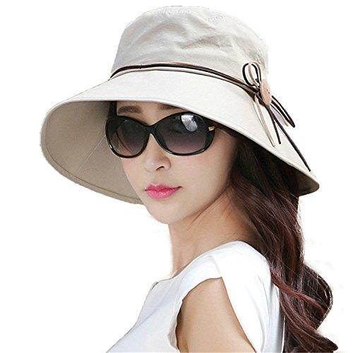 Butterme été femme Pliable bowknot Garden Sun Hat Seau Hat beige