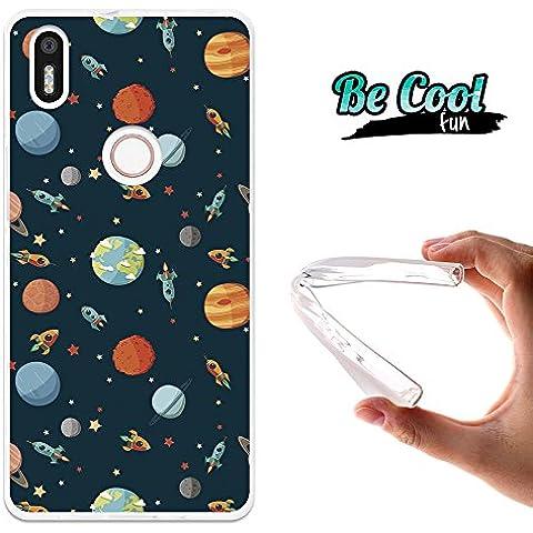 Becool® Fun - Funda Gel Flexible para Bq Aquaris X5 Plus ,Carcasa TPU fabricada con la mejor Silicona, protege y se adapta a la perfección a tu Smartphone y con nuestro exclusivo diseño. Cohetes y planetas