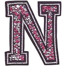 Parche autoadhesivo con escudo bordado en colores brillantes. Letras brillantes de 8-10 cm