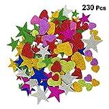 Toyvian 230pcs Schiuma Stelle Glitter Cuore Adesivi per progetti Fai da Te soffitto a Parete (Modello di Colore Casuale)