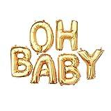 16 Zoll OH Baby Gold Mylar Folienballon Aluminum Foil Balloon Air Helium Luftballon Decorations Buchstaben Ballon,Hochzeit Ballons,DIY Deko Party Zubehör,Fotorequisite