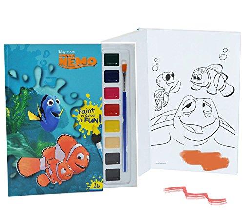 Unbekannt Malbuch / Malblock mit 8 Wasserfarben + Pinsel - Disney Findet Nemo Fische - Malvorlagen Clownfisch - Aufkleber für Jungen Mädchen Malbücher Farben Vorlagen -..