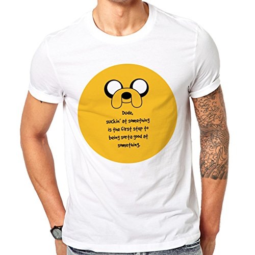 Adventure Time Quote Life Wisdom Jake The Dog Dude, SuckinÕ At Something Is The First Step To Being Sorta Good At Something Yellow Circle Herren T-Shirt Weiß
