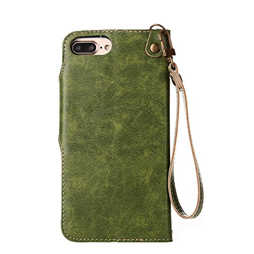 YHUISEN iPhone 6 Plus / 6S Plus Tasche, Luxus Retro Rose Premium PU Leder Magnetverschluss Flip Wallet Schutzhülle mit Lanyard für iPhone 6 Plus / iPhone 6S Plus ( Color : Light Green ) Green