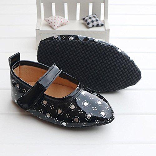 Fulltime® 2016 Chaussures Baby Girl Bow douce Sole Toddler Prewalker Noir