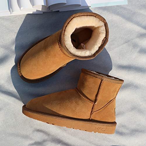 Pu Snow Boots Damenstiefel Frosted Low Boots Dünne Baumwolle Schuhe Rutschfeste, gepolsterte Stiefel Snow Cotton, 36, Maroon ()
