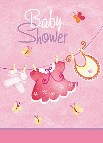 Pink Schirmhaspel Mädchen Baby Dusche Einladungen, 8ct