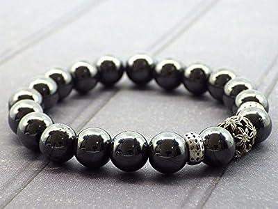 Bracelet pour femme en perles d'Hématite et perle centrale avec cristaux de Swarovski