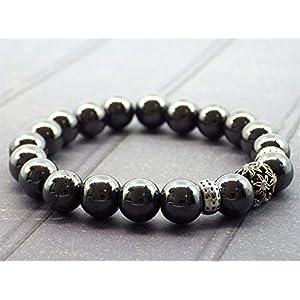 Perlenarmband Hämatit und zentrale Perle mit Kristallen