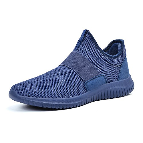 ZOCAVIA Sportschuhe Slip on Leicht Laufschuhe Sneaker Atmungsaktiv Freizeitschuhe Damen Herren Blau 41 EU