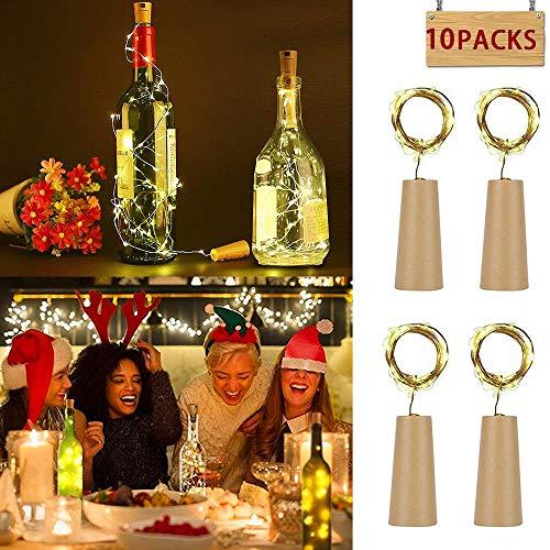 (10 Stück Led Flaschenlicht Korken, MMTX 2M mit 20 LED Kupferdraht Lichterketten für Flasche DIY Dekor, Weinflasche Lichter Party, Deko Hochzeit, Urlaub (Warmes Weiß LED Flaschen-Licht Flaschenlichter))