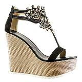 Angkorly - damen Schuhe Sandalen - T-Spange - Plateauschuhe - Schmuck - bestickt Keilabsatz high heel 13 CM - Schwarz 168-1 T 37