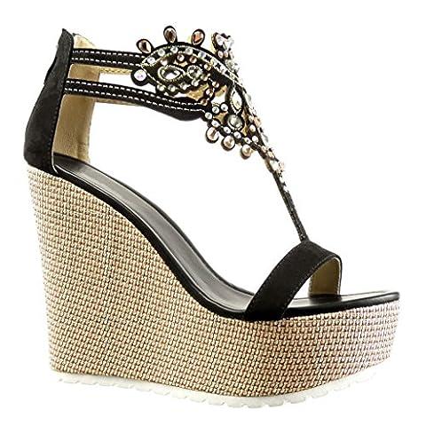 Angkorly - damen Schuhe Sandalen - T-Spange - Plateauschuhe - Schmuck - bestickt Keilabsatz high heel 13 CM - Schwarz 168-1 T (Keilabsatz Schwarz)