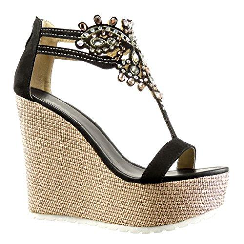 Angkorly - scarpe moda sandali cinturino zeppe donna gioielli ricamo tacco zeppa piattaforma 13 cm - nero 168-1 t 39