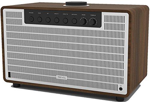 Revo SuperTone Bluetooth 4.2 Lautsprecher (80 Watt, Stereo Sound, Subwoofer, Kopfhörer Ausgang, inkl. Netzteil) walnuss-silber