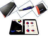 Deux tons en simili cuir Padfolio Organiseur avec ordinateur portable amovible et LED Pen, Noir