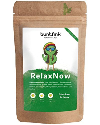 RelaxNow Entspannungstee, Beruhigungstee für mehr Gelassenheit, 100% natürlicher Stimmungsaufheller, Anti-Stress-Tee für Körper und Seele, 60g Kräutertee aus Deutschland