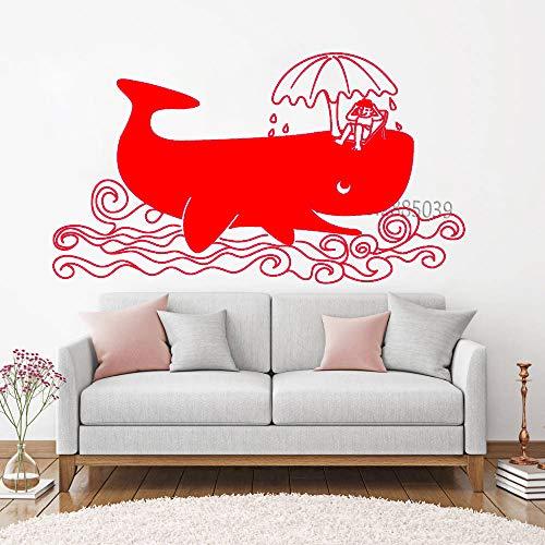 guijiumai Happy Vacation Big Whale Vinyl Aufkleber Relaxing Whale Large Murals Wandaufkleber Niedlich Kinder Schlafzimmer Dekor Adesivo De Parede L 2 L 195 cm x 110 cm