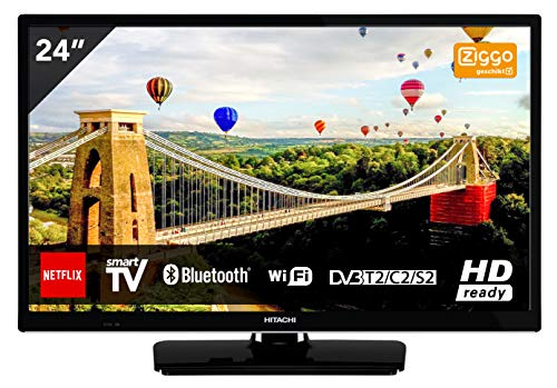 Television 24 inch HD Bluetooth Wifi and Smart TV - LED 720p, 61cm, HD-Ready, HDMI, USB - Perfect for Kitchen and Small Rooms - Stand or Wall Mounted (Led-tv-720p)