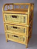Rattanregal mit 3 Schüben , Korbregal mit Schub , Korbfarbe : honig , Größe : B 45 cm , T 36 cm , H 75 cm .